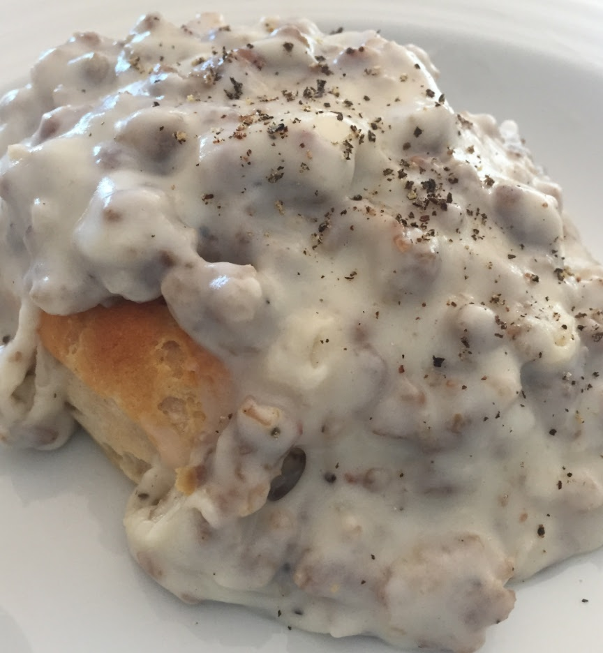 3 ingredient Sausage Gravy over Biscuits